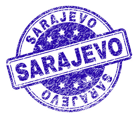 SARAJEVO stamp seal watermark with distress texture. Designed with rounded rectangles and circles. Blue vector rubber print of SARAJEVO label with scratched texture.