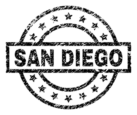 SAN DIEGO stamp seal watermark with distress style. Designed with rectangle, circles and stars. Black vector rubber print of SAN DIEGO title with dust texture.