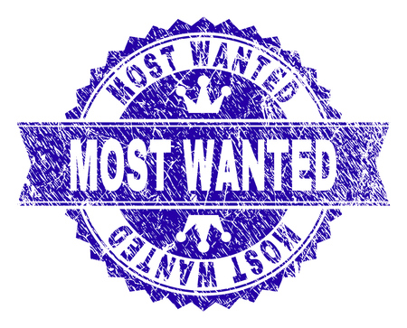 MOST WANTED rosette seal imitation with grunge texture. Designed with round rosette, ribbon and small crowns. Blue vector rubber watermark of MOST WANTED tag with grunge style.