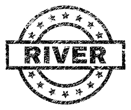 RIVER stamp seal watermark with distress style. Designed with rectangle, circles and stars. Black vector rubber print of RIVER tag with grunge texture. 向量圖像