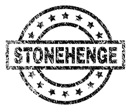 STONEHENGE stamp seal watermark with distress style. Designed with rectangle, circles and stars. Black vector rubber print of STONEHENGE caption with unclean texture. Illustration