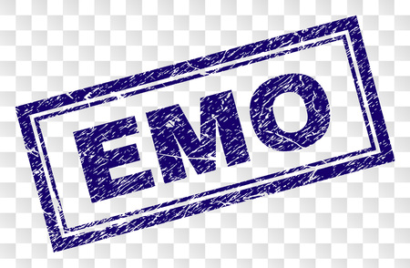 EMO stamp seal imprint with scratched style and double framed rectangle shape. Stamp is placed on a transparent background. Blue vector rubber print of EMO label with scratched texture.