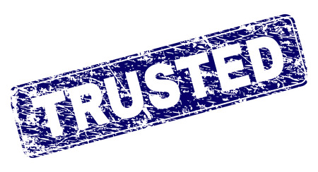 TRUSTED stamp seal print with grunge style. Seal shape is a rounded rectangle with frame. Blue vector rubber print of TRUSTED text with grunge style.