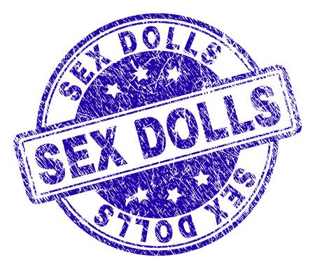 SEX DOLLS stamp seal imprint with grunge texture. Designed with rounded rectangles and circles. Blue vector rubber print of SEX DOLLS label with unclean texture.
