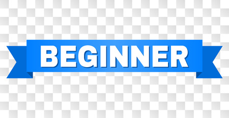 BEGINNER text on a ribbon. Designed with white caption and blue stripe. Vector banner with BEGINNER tag on a transparent background.