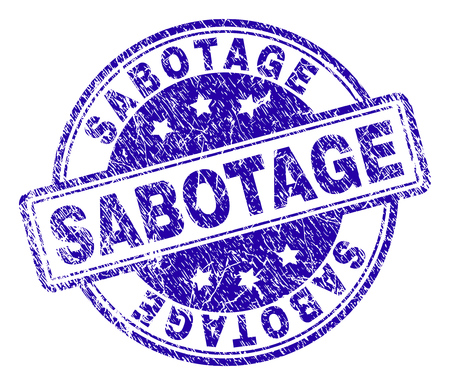SABOTAGE stamp seal imprint with grunge texture. Designed with rounded rectangles and circles. Blue vector rubber print of SABOTAGE title with corroded texture. Illustration