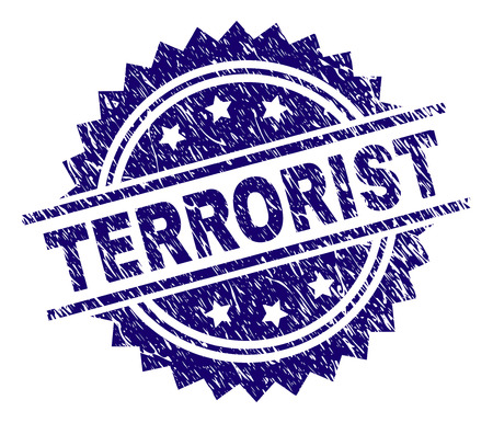 TERRORIST stamp seal watermark with distress style. Blue vector rubber print of TERRORIST tag with unclean texture.