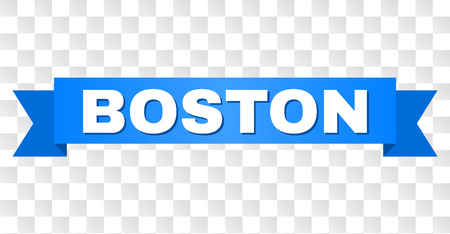 BOSTON text on a ribbon. Designed with white caption and blue stripe. Vector banner with BOSTON tag on a transparent background. 일러스트
