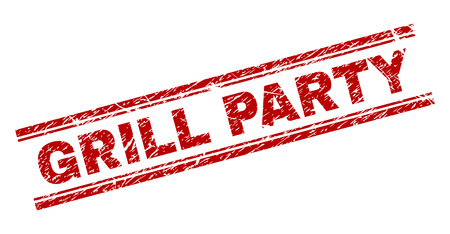 GRILL PARTY seal watermark with corroded texture. Red vector rubber print of GRILL PARTY title with dust texture. Text title is placed between double parallel lines.