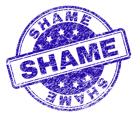 SHAME stamp seal watermark with grunge texture. Designed with rounded rectangles and circles. Blue vector rubber print of SHAME caption with corroded texture.
