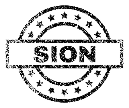SION stamp seal watermark with distress style. Designed with rectangle, circles and stars. Black vector rubber print of SION caption with unclean texture. Illustration