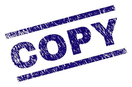 Copiez le timbre de sceau avec le style grunge. Impression en caoutchouc de vecteur bleu du texte de COPIE avec une texture impure. Le titre du texte est placé entre des lignes parallèles.