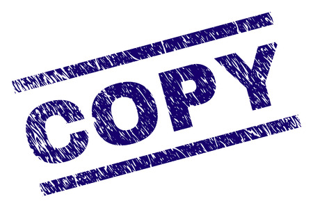 COPY seal stamp with grunge style. Blue vector rubber print of COPY text with unclean texture. Text title is placed between parallel lines.