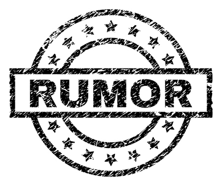 RUMOR stamp seal watermark with distress style. Designed with rectangle, circles and stars. Black vector rubber print of RUMOR title with unclean texture.