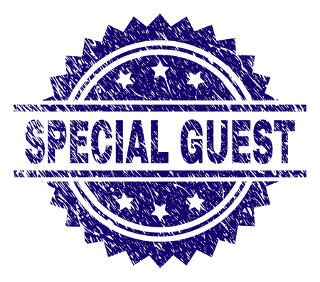 SPECIAL GUEST stamp seal watermark with distress style. Blue vector rubber print of SPECIAL GUEST text with scratched texture.