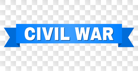 CIVIL WAR text on a ribbon. Designed with white caption and blue tape. Vector banner with CIVIL WAR tag on a transparent background.