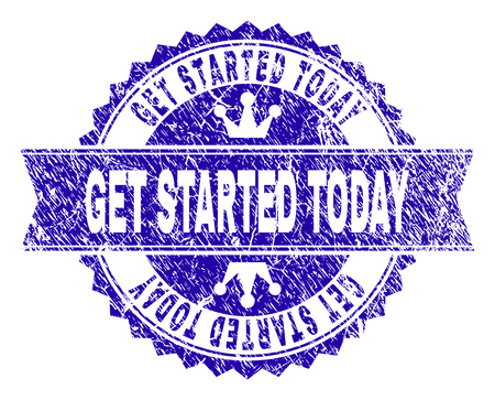 GET STARTED TODAY rosette stamp seal imprint with grunge effect. Designed with round rosette, ribbon and small crowns. Blue vector rubber print of GET STARTED TODAY caption with grunge style.