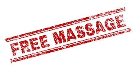 FREE MASSAGE seal print with grunge texture. Red vector rubber print of FREE MASSAGE tag with scratched texture. Text tag is placed between double parallel lines.
