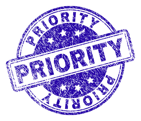 PRIORITY stamp seal imprint with grunge texture. Designed with rounded rectangles and circles. Blue vector rubber print of PRIORITY text with corroded texture.