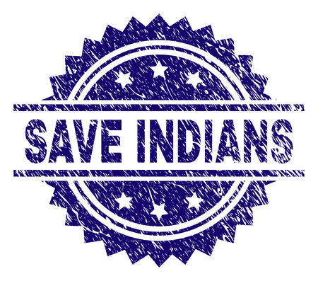 SAVE INDIANS stamp seal watermark with distress style. Blue vector rubber print of SAVE INDIANS title with dirty texture.