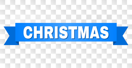 CHRISTMAS text on a ribbon. Designed with white title and blue tape. Vector banner with CHRISTMAS tag on a transparent background. Illustration