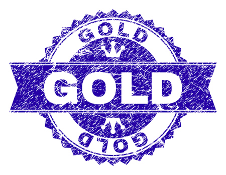 GOLD rosette stamp seal imprint with grunge effect. Designed with round rosette, ribbon and small crowns. Blue vector rubber print of GOLD caption with grunge texture.