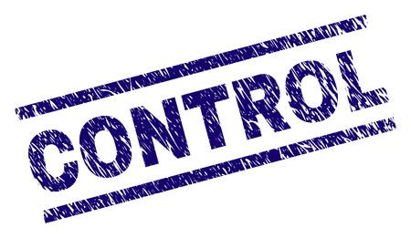 Impression de sceau de contrôle avec style grunge. Impression en caoutchouc de vecteur bleu du texte CONTROL avec une texture corrodée. La légende du texte est placée entre des lignes parallèles. Vecteurs