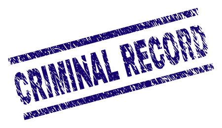 CRIMINAL RECORD seal print with grunge style. Blue vector rubber print of CRIMINAL RECORD tag with grunge texture. Text caption is placed between parallel lines.