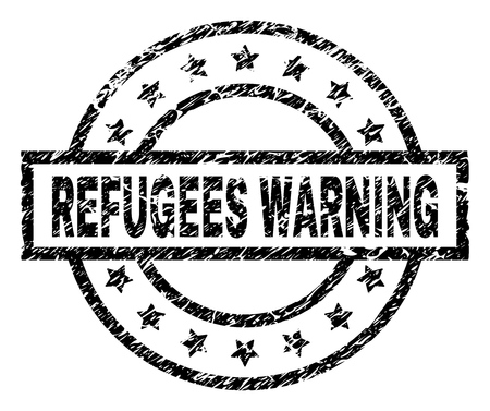 REFUGEES WARNING stamp seal watermark with distress style. Designed with rectangle, circles and stars. Black vector rubber print of REFUGEES WARNING tag with dust texture. 向量圖像