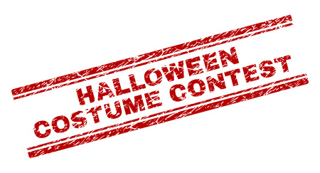HALLOWEEN COSTUME CONTEST seal print with grunge texture. Red vector rubber print of HALLOWEEN COSTUME CONTEST text with grunge texture. Text title is placed between double parallel lines. Vector Illustration
