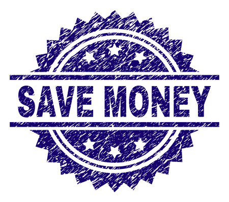 SAVE MONEY stamp seal watermark with distress style. Blue vector rubber print of SAVE MONEY text with corroded texture.