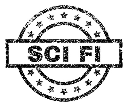 SCI FI stamp seal watermark with distress style. Designed with rectangle, circles and stars. Black vector rubber print of SCI FI tag with scratched texture. Illustration