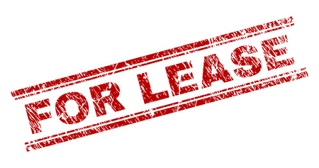 FOR LEASE seal watermark with corroded texture. Red vector rubber print of FOR LEASE title with scratched texture. Text title is placed between double parallel lines.