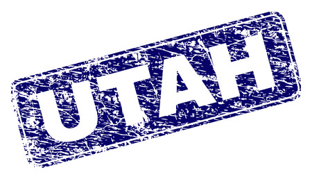 UTAH stamp seal print with distress texture. Seal shape is a rounded rectangle with frame. Blue vector rubber print of UTAH label with unclean texture. 版權商用圖片 - 115418867