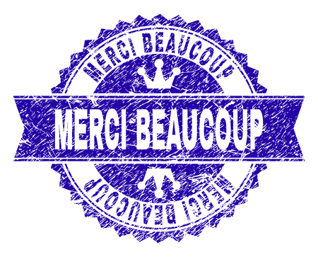 MERCI BEAUCOUP rosette seal watermark with grunge texture. Designed with round rosette, ribbon and small crowns. Blue vector rubber watermark of MERCI BEAUCOUP tag with grunge texture. Illustration