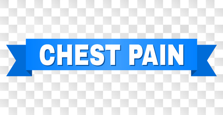 CHEST PAIN text on a ribbon. Designed with white title and blue tape. Vector banner with CHEST PAIN tag on a transparent background.