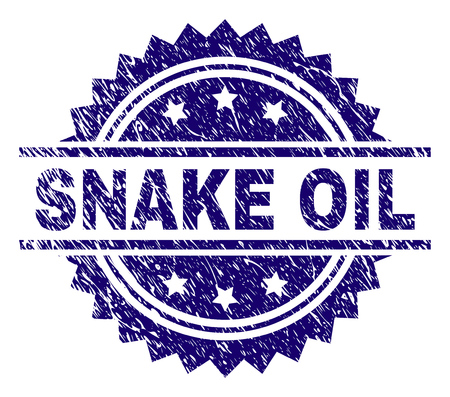 SNAKE OIL stamp seal watermark with distress style. Blue vector rubber print of SNAKE OIL text with dust texture.