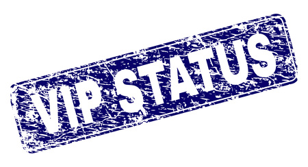 VIP STATUS stamp seal print with distress texture. Seal shape is a rounded rectangle with frame. Blue vector rubber print of VIP STATUS title with grunge texture.