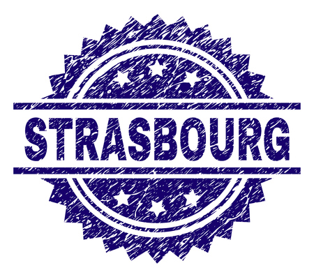 STRASBOURG stamp seal watermark with distress style. Blue vector rubber print of STRASBOURG label with retro texture.