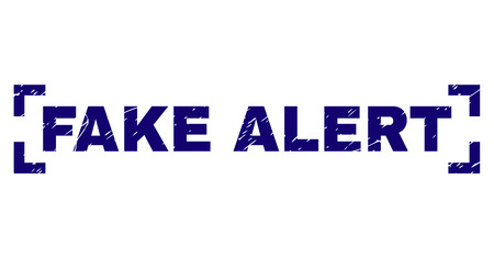 FAKE ALERT title seal print with grunge texture. Text title is placed inside corners. Blue vector rubber print of FAKE ALERT with grunge texture.
