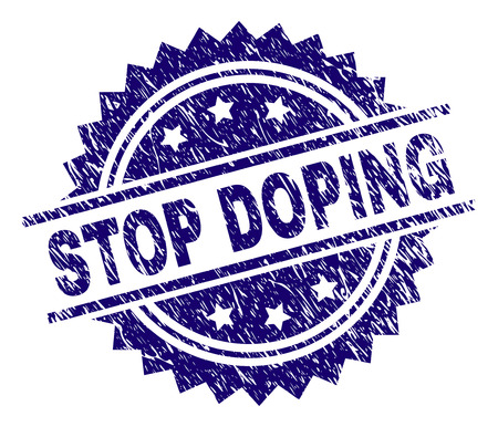 STOP DOPING stamp seal watermark with distress style. Blue vector rubber print of STOP DOPING label with dirty texture.