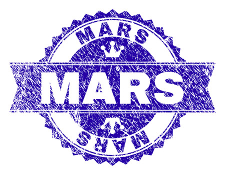 MARS rosette seal imitation with distress style. Designed with round rosette, ribbon and small crowns. Blue vector rubber print of MARS title with dust style. Vettoriali