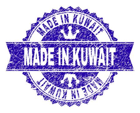 FABRIQUÉ AU KOWEIT filigrane de timbre rosette avec texture grunge. Conçu avec une rosette ronde, un ruban et de petites couronnes. Filigrane en caoutchouc vectoriel bleu de l'étiquette MADE IN KOWAIT avec une texture sale.