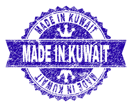 MADE IN KUWAIT rosette stamp watermark with grunge texture. Designed with round rosette, ribbon and small crowns. Blue vector rubber watermark of MADE IN KUWAIT tag with unclean texture.