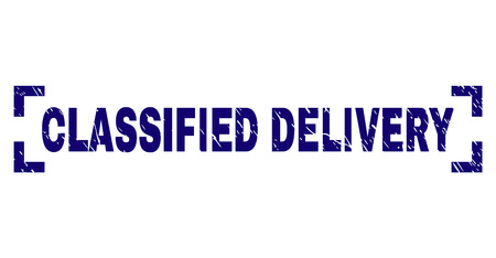 CLASSIFIED DELIVERY text seal stamp with corroded effect. Text caption is placed between corners. Blue vector rubber print of CLASSIFIED DELIVERY with corroded texture. Illustration