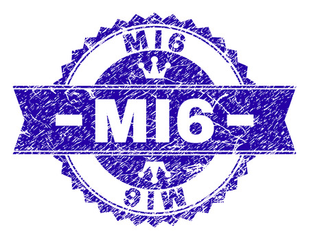 MI6 rosette stamp watermark with grunge texture. Designed with round rosette, ribbon and small crowns. Blue vector rubber watermark of MI6 title with grunge texture. Çizim