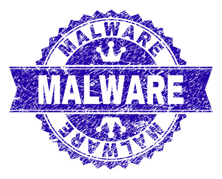 MALWARE rosette seal watermark with grunge style. Designed with round rosette, ribbon and small crowns. Blue vector rubber watermark of MALWARE label with unclean style. Illustration