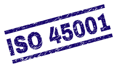 ISO 45001 seal print with distress style. Blue vector rubber print of ISO 45001 tag with unclean texture. Text tag is placed between parallel lines.