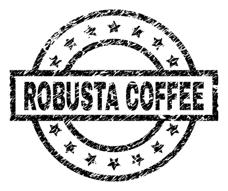 ROBUSTA COFFEE stamp seal watermark with distress style. Designed with rectangle, circles and stars. Black vector rubber print of ROBUSTA COFFEE text with corroded texture. Illustration