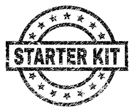 STARTER KIT stamp seal watermark with distress style. Designed with rectangle, circles and stars. Black vector rubber print of STARTER KIT title with corroded texture.